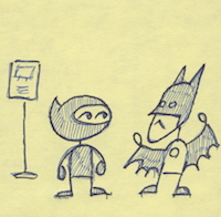 the comic panel with ninja on the left and batman on the right